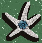 Blue Diamond Starfish Pendant