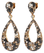 Brown and Black Diamond Ladies Earrings