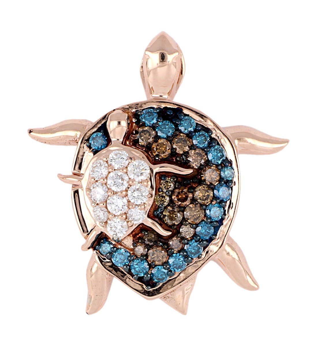 Brown and Blue Diamond Ladies Pendant