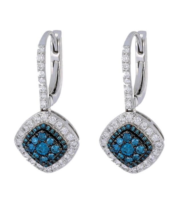Cushion Shaped Blue Diamond Earrings