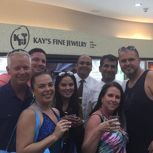 50th Birthday celebration in Kay_s fine Jewelry St. Maarten for Carolyn Starman from Seattle with Bob