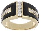 Onyx and Diamond Men's Ring