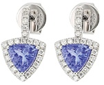 Tanzanite Earrings with White Diamonds