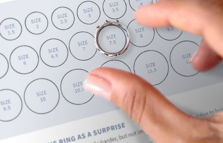 Ring on a sizing chart